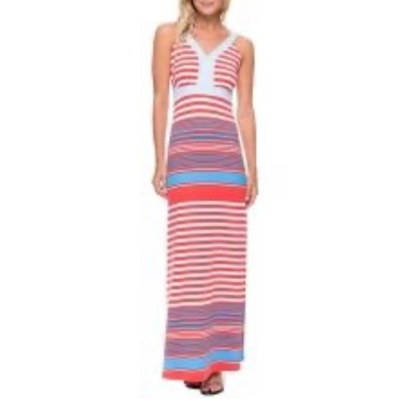J. McLaughlin red, white, blue maxi dress